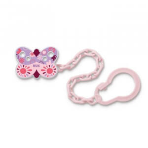 Attache sucette NUK - Rose Papillon