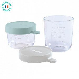 Coffret 2 portions verre 150ml airy-green/250ml gris clair Béaba