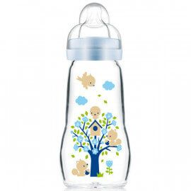 Biberon en verre Feel Good Mam 260ml Bleu
