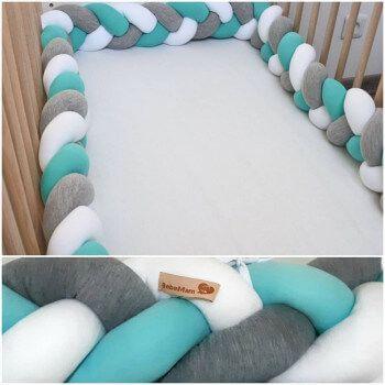 Tour de lit tressé 3 mètres vert eau/gris/blanc