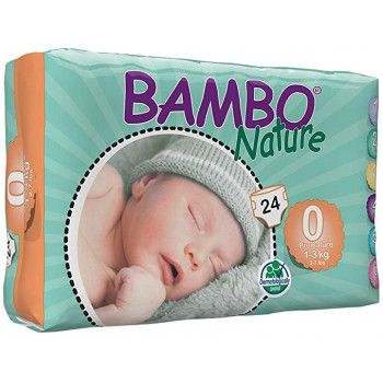 Couches Bambo Nature Taille 0 (1-3kg) 24 Unités