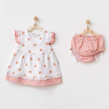 Ensemble Robe Bébé 1-3 mois Fraises