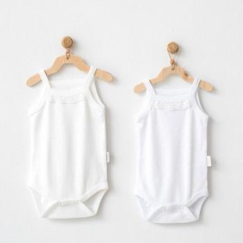 Lot 2 body 100% coton Beige/Blanc 3-6 mois Fille