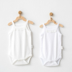 Lot 2 body 100% coton Beige/Blanc 18-24 mois Fille